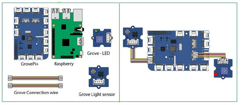Connect the LED and Light Sensor